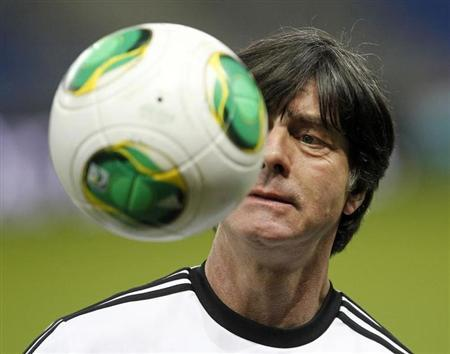 Germany's national soccer team head coach Joachim Loew attends a training session ahead of their 2014 World Cup qualifying soccer match against Kazakhstan in Astana March 21, 2013. REUTERS/Shamil Zhumatov