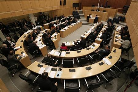 Lawmakers participate in a parliamentary session in Nicosia March 22, 2013. REUTERS/Yorgos Karahalis