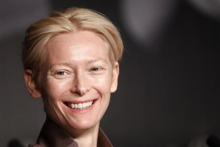 Cast member Tilda Swinton attends a news conference for the film ''Moonrise Kingdom'', by director Wes Anderson, in competition at the 65th Cannes Film Festival, May 16, 2012. REUTERS/Jean-Paul Pelissier