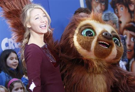 Actress Blake Lively arrives for the premiere of the film ''The Croods'' in New York, March 10, 2013. REUTERS/Carlo Allegri/Files