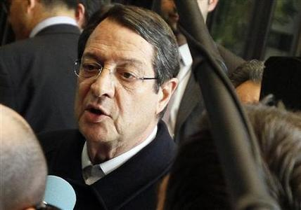 Cyprus' President Nicos Anastasiades leaves the European Council building in Brussels, March 25, 2013, after a meeting with European Council President Herman Van Rompuy and other officials to discuss a rescue package for the island. REUTERS-Sebastien Pirlet
