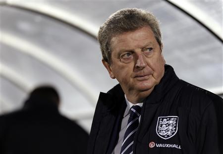 England manager Roy Hodgson attends their 2014 World Cup qualifying soccer match against San Marino at the Serravalle Stadium in San Marino March 22, 2013. REUTERS/Eddie Keogh