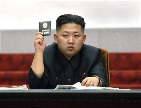 North Korean leader Kim Jong-Un holds up his ballot during the fifth session of the 12th Supreme People's Assembly of North Korea at the Mansudae Assembly Hall in Pyongyang April 13, 2012, in this picture released by the North's KCNA on April 14, 2012. REUTERS/KCNA