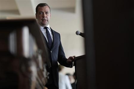 Russia's Prime Minister Dmitry Medvedev speaks during a meeting with Brazil's Vice President Michel Temer (not pictured) at the Itamaraty Palace in Brasilia February 20, 2013. REUTERS/Ueslei Marcelino