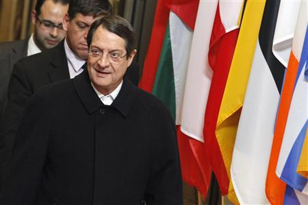 Cyprus' President Nicos Anastasiades leaves the European Council building in Brussels, March 25, 2013, after a meeting with European Council President Herman Van Rompuy and other officials to discuss a rescue package for the island. REUTERS/Sebastien Pirlet