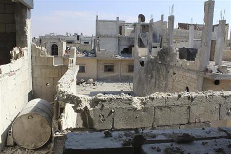 Damaged buildings are seen in Baba Amr neighbourhood of Homs June 28, 2012. REUTERS/Nader Al Husseini/Shaam News Network/Handout