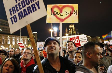Same-sex marriage supporters take part in a march in support of gay marriage in San Francisco, California, March 25, 2013. REUTERS/Beck Diefenbach