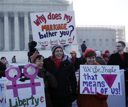 Gay marriage supporters hold signs outside of the U.S. Supreme Court in Washington, March 26, 2013. REUTERS/Jonathan Ernst