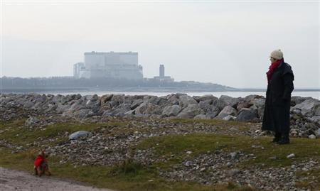 A woman walks her dog near EDF Energy's Hinkley Point B nuclear power station in Bridgwater, southwest England December 13, 2012. REUTERS/Suzanne Plunkett