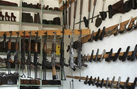Firearms and ammunition are seen on display at an arms market in Maarib city, around 190 km (118 miles) east of the Yemeni capital Sanaa October 14, 2010. REUTERS/Khaled Abdullah