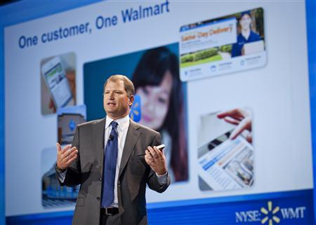 President and CEO of Wal-Mart Global eCommerce Neil Ashe is shown in this undated handout provided by Wal-Mart March 26, 2013. Wal-Mart Stores Inc is ramping up plans to combine its physical stores with online technology, testing the use of lockers to hold goods ordered on the internet until shoppers pick them up, as the world's largest retailer tries to catch up with e-commerce leader Amazon.com Inc. REUTERS/Curtis Myers/Walmart/Handout