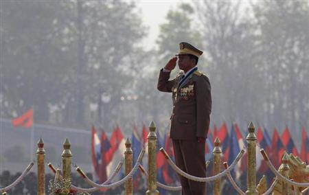 Myanmar's army chief General Min Aung Hlaing salutes during a ceremony to mark the 67th anniversary of Armed Forces Day in Myanmar's capital Naypyitaw March 27, 2012. REUTERS/Soe Zeya Tun