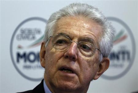 Italy's outgoing Prime Minister and leader of a coalition of centre parties Mario Monti speaks during a news conference in Rome March 6, 2013. REUTERS/Alessandro Bianchi
