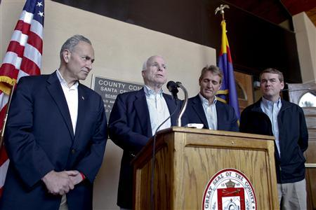 U.S. Senators (L-R) Chuck Schumer (D-NY), John McCain (R-AZ), Jeff Flake (R-AZ) and Michael Bennet (D-CO) hold a news conference following their tour of the Arizona-Mexico border in Nogales, Arizona March 27, 2013. REUTERS/Samantha Sais
