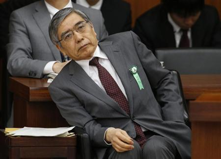 Bank of Japan's (BOJ) Governor Haruhiko Kuroda smiles as he attends the lower house financial committee of Parliament in Tokyo March 26, 2013. REUTERS/Toru Hanai
