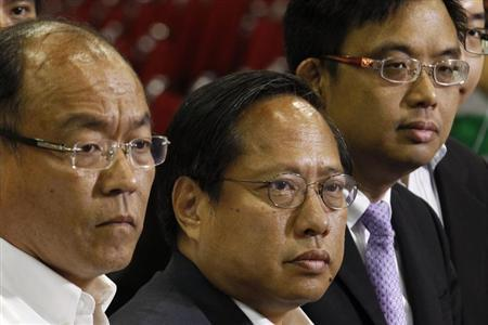 (L-R) Frederick Fung, Albert Ho and James To from the pro-democratic camp meet journalists after winning in the territory-wide poll of the Legislative Council election in Hong Kong September 10, 2012.REUTERS/Bobby Yip