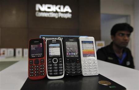 Low-cost handsets from Nokia on display at a Nokia store in the western Indian city of Ahmedabad March 4, 2013. REUTERS/Amit Dave