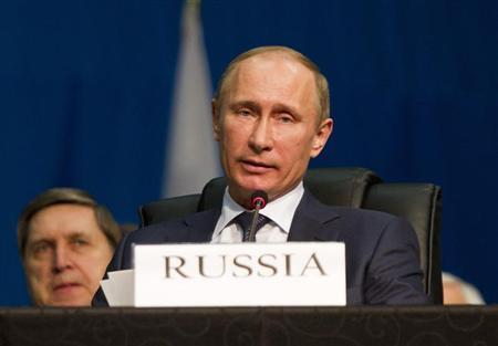 Russian President Vladimir Putin speaks during closing remarks at the fifth BRICS Summit in Durban, March 27, 2013. REUTERS/Rogan Ward