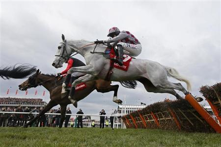Horses jump a fence during a hurdle race at the Cheltenham Festival horse racing meet in Gloucestershire, western England, March 14, 2013. REUTERS/Stefan Wermuth