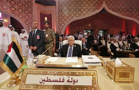 Palestinian President Mahmoud Abbas looks on during the opening of the Arab League summit in Doha, Qatar, March 26, 2013. REUTERS/Ahmed Jadallah