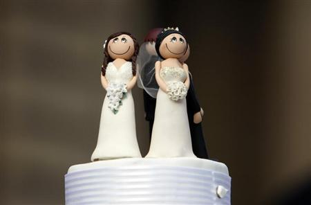 Two bride figurines adorn the top of a wedding cake during an illegal same-sex wedding ceremony in central Melbourne August 1, 2009. REUTERS/Mick Tsikas