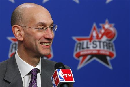 Adam Silver, named as the next NBA Commissioner, speaks at a news conference before the All Star slam dunk competition during the NBA basketball All-Star weekend in Houston, Texas, February 16, 2013. REUTERS/Jeff Haynes