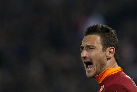 AS Roma's Francesco Totti reacts during his Italian Serie A soccer match against Juventus at the Olympic stadium in Rome February 16, 2013. REUTERS/Alessandro Bianchi