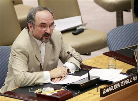 Iran's Ambassador to the U.N. Mohammad Khazaee speaks before the U.N. Security Council at the U.N. Headquarters in New York, June 9, 2010. REUTERS/Brendan McDermid