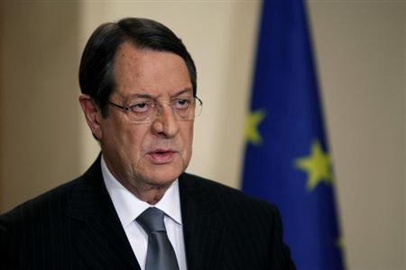 Cyprus' President Nicos Anastasiades addresses the nation with a televised speech from the presidential palace in Nicosia March 25, 2013. REUTERS/Petros Karadjias/Pool