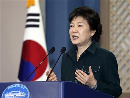 South Korea's President Park Geun-hye speaks to the nation at the presidential Blue House in Seoul March 4, 2013. REUTERS/Lee Jae-Won
