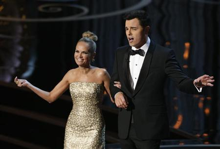 Kristin Chenoweth and Oscars host Seth MacFarlane perform the closing number at the 85th Academy Awards in Hollywood, California, February 24, 2013. REUTERS/Mario Anzuoni