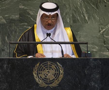 Prime Minister of Kuwait Jaber Al Mubarak Al Hamad Al Sabah addresses the 67th session of the United Nations General Assembly at UN headquarters in New York, September 26, 2012. REUTERS/Ray Stubblebine