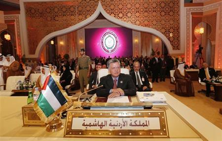 Jordan's King Abdullah looks on during the opening of the Arab League summit in Doha March 26, 2013. REUTERS/Ahmed Jadallah