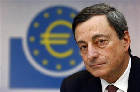 Mario Draghi, President of the European Central Bank (ECB) , addresses the media during his monthly news conference in Frankfurt, March 7, 2013. REUTERS/Kai Pfaffenbach