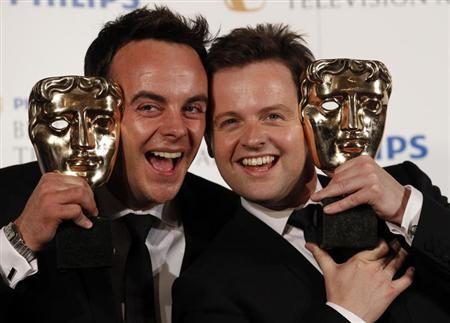 Presenters Ant McPartlin (L) and Dec Donnelly pose with the British Academy Television Awards Entertainment Performance Award at the Palladium Theatre in London June 6, 2010. REUTERS/Luke MacGregor