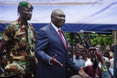 Central African Republic's new President Michel Djotodia speaks to his supporters at a rally in favour of the Seleka rebel coalition in downtown Bangui March 30, 2013. REUTERS/Alain Amontchi