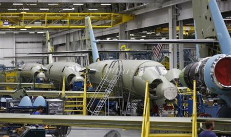A view of the jet assembly line at Cessna at their manufacturing plant in Wichita, Kansas March 12, 2013. REUTERS/Jeff Tuttle