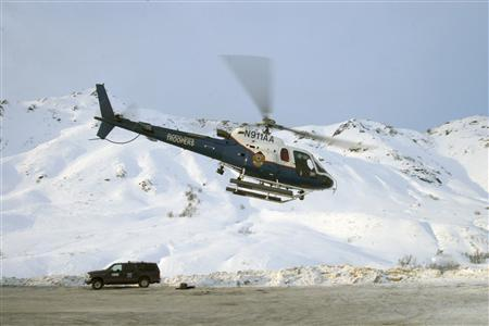 The Helo-1 helicopter is pictured at Hatcher Pass, Alaska, in this handout photo from 2008, courtesy of the Alaska State Troopers. REUTERS/Alaska State Troopers/Handout