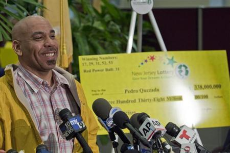 Pedro Quezada, winner of the Powerball lottery, attends a news conference at the New Jersey Lottery headquarters in Trenton, March 26, 2013.REUTERS/Eduardo Munoz