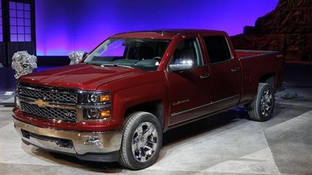 General Motors displays its 2014 Chevrolet Silverado full-size pickup truck after unveiling it and the 2014 GMC Sierra full-size pickup in Pontiac, Michigan December 13, 2012. REUTERS/Rebecca Cook