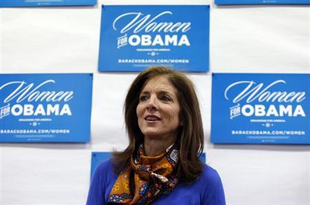 Caroline Kennedy speaks to volunteers for U.S. President Barack Obama at the Obama for America New Hampshire Office in Portsmouth, New Hampshire November 3, 2012. REUTERS/Jessica Rinaldi