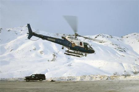 The Helo-1 helicopter is pictured at Hatcher Pass, Alaska, in this handout photo from 2008, courtesy of the Alaska State Troopers. The Alaska State Troopers helicopter crashed during a rescue mission, killing all three people on board, officials said on March 31, 2013. REUTERS/Alaska State Troopers/Handout