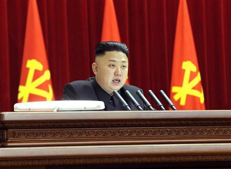 North Korean leader Kim Jong-un presides over a plenary meeting of the Central Committee of the Workers' Party of Korea in Pyongyang March 31, 2013 in this picture released by the North's official KCNA news agency on April 1, 2013. REUTERS/KCNA