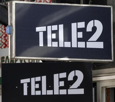The logo of Nordic telecoms group Tele2 is seen outside the company's branch in St.Petersburg, March 28, 2013. REUTERS/Alexander Demianchuk