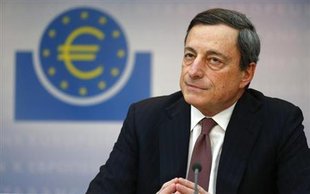 Mario Draghi, President of the European Central Bank (ECB), listens to reporter's questions during his monthly news conference in Frankfurt, March 7, 2013. REUTERS/Kai Pfaffenbach
