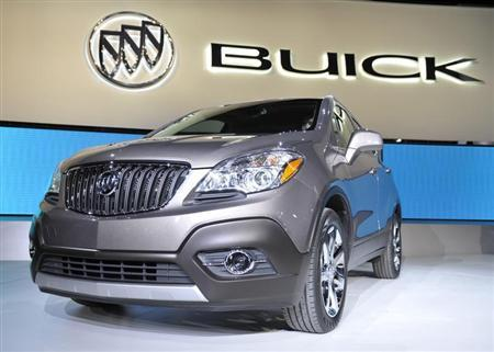 The new 2013 Buick Encore crossover is displayed on the final press preview day for the North American International Auto Show in Detroit, Michigan, January 10, 2012. REUTERS/Mike Cassese