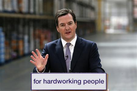Britain's Chancellor of the Exchequer George Osborne speaks at the Morrisons supermarket distribution centre in Sittingbourne, southern England April 2, 2013. REUTERS/Stefan Wermuth