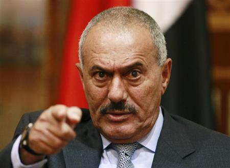 Yemen's President Ali Abdullah Saleh points during an interview with selected media, including Reuters, in Sanaa May 25, 2011. REUTERS/Khaled Abdullah