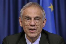 Michael Sarris, le ministre chypriote des Finances, a conclu mardi les discussions entre Nicosie et ses bailleurs de fonds internationaux sur les conditions d'un plan de sauvetage de dix milliards d'euros, et a démissionné dans la foulée. /Photo prise le 2 avril 2013/REUTERS/Eric Vidal