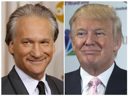 This combination photo shows Bill Maher in Hollywood, California, February 22, 2009 and Donald Trump in Las Vegas, Nevada, December 19, 2012. REUTERS/Mike Blake/Steve Marcus/Files